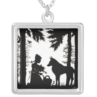 Black Silhouette Red Riding Hood Wolf Woods Square Pendant Necklace