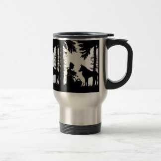 Black Silhouette Red Riding Hood Wolf Woods Travel Mug