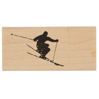 Black Silhouette Snow Skier Personalized Wood USB Flash Drive