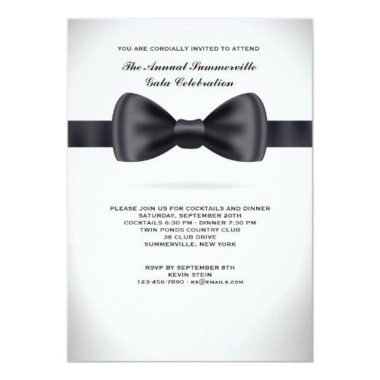 Black Silk Bow Tie Invitation