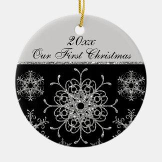 Black Silver 1st Christmas Keepsake Ornament