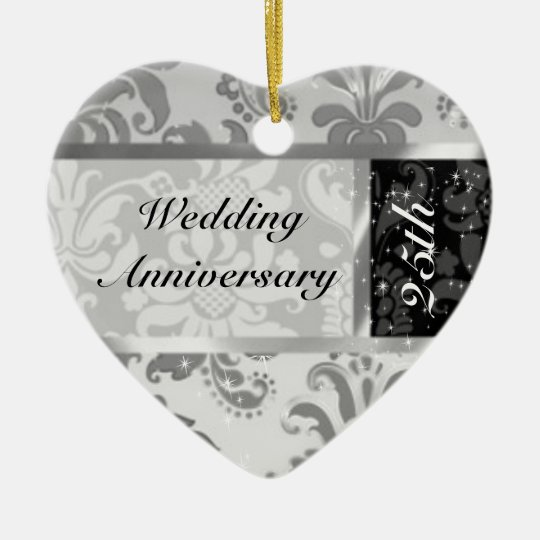 Black & Silver 25th Wedding Anniversary Ornament