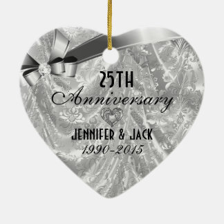 Black & Silver 25th Wedding Anniversary Ornament 3
