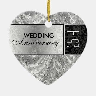 Black & Silver 25th Wedding Anniversary Ornament 4