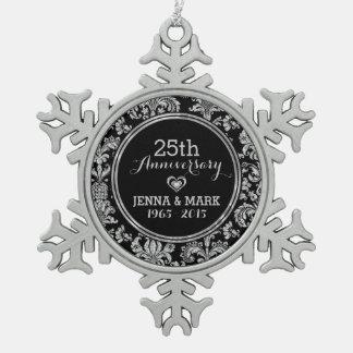 Black & Silver 25th Wedding Anniversary Ornament 5