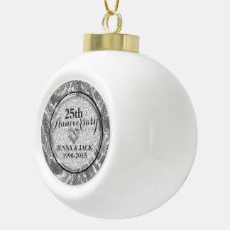 Black & Silver 25th Wedding Anniversary Ornament