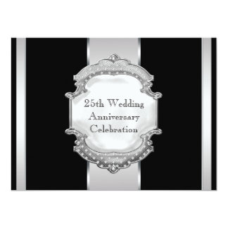 Black Silver 25th Wedding Anniversary Party Card
