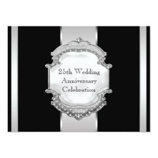 "Black Silver 25th Wedding Anniversary Party 6.5"" X 8.75"" Invitation Card"