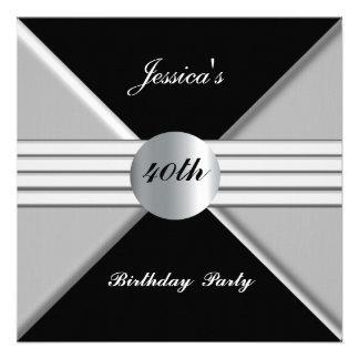 Black Silver 40th Birthday Party Invitation Invite