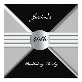 Black Silver 40th Birthday Party Invitation