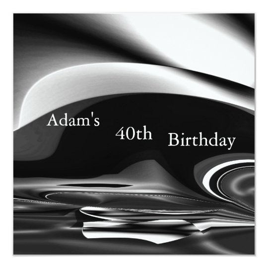 Black Silver Abstract 2 40th Birthday Party Mens