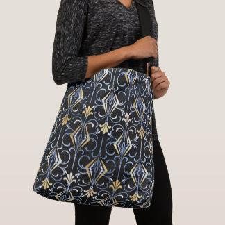 Black, Silver and Gold Art Deco Design Crossbody Bag