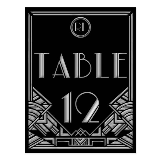 Black Silver Art Deco Gatsby Style Table Number 12 Postcard