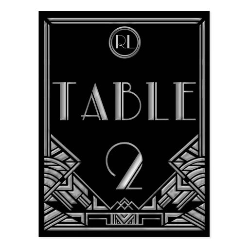 Black Silver Art Deco Gatsby Style Table Number 2 Post Card