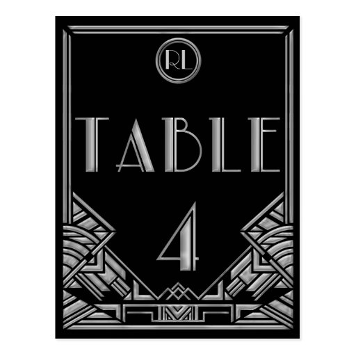 Black Silver Art Deco Gatsby Style Table Number 4 Post Cards