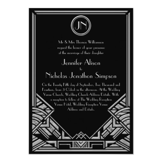 Black Silver Art Deco Gatsby Style Wedding Invites