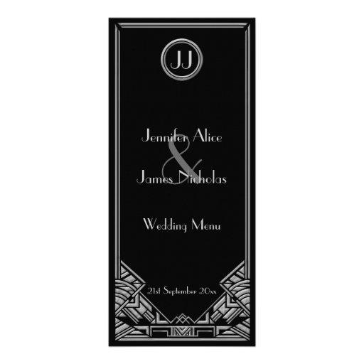 Black Silver Art Deco Gatsby Style Wedding Menu Custom Rack Card