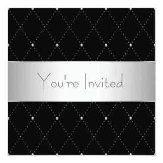 Black Silver Black Tie Corporate Party 13 Cm X 13 Cm Square Invitation Card