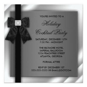 Black tie party invitations announcements zazzle uk black silver black tie party black tie formal invitation stopboris Images