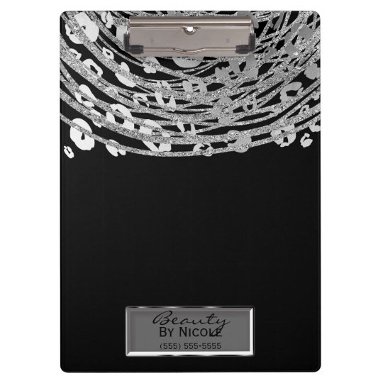 Black Silver Cheetah Leopard Glam Personalised Clipboard