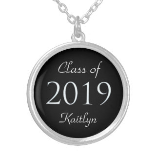 Black Silver Class of 2019 Personalized Round Pendant Necklace