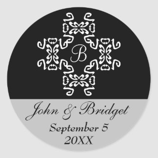 Black & Silver Classic Monogram Wedding Stickers