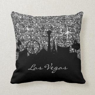 Black & Silver Confetti Glitter Las Vegas Skyline Cushion