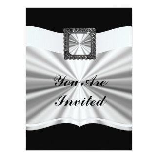 Black & silver customizable for  any occasion 17 cm x 22 cm invitation card