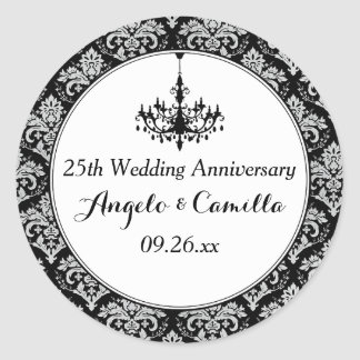 Black, Silver Damask 25th Anniversary Sticker 2