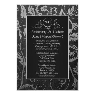 Black - Silver Damask 25th Business Anniversary 13 Cm X 18 Cm Invitation Card