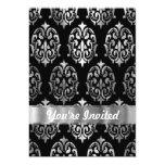 Black & silver damask 5x7 paper invitation card