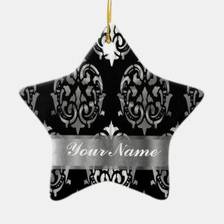 Black & silver damask ceramic star decoration