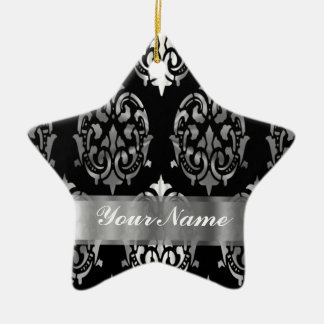 Black & silver damask christmas ornament