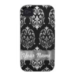 Black & silver damask iPhone 4/4S cover