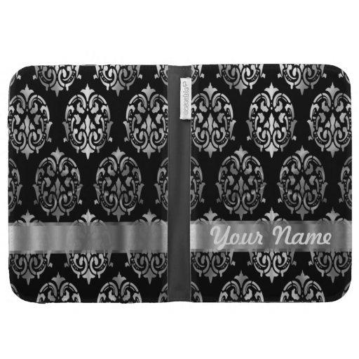 Black & silver damask kindle case
