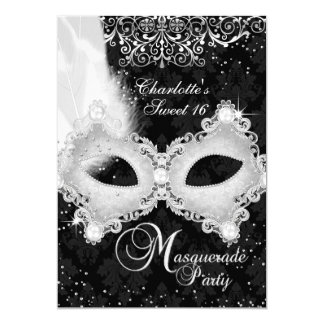 Black Silver Damask Mask Masquerade Sweet 16 13 Cm X 18 Cm Invitation Card