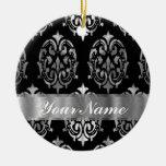 Black & silver damask ornaments