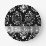 Black & silver damask round wall clock
