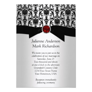 Black Silver Damask Ruby Wedding Invitatio 13 Cm X 18 Cm Invitation Card