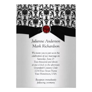 Black Silver Damask Ruby Wedding Invitatio Card