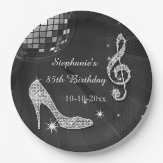 Black/Silver Disco Ball and Heels 85th Birthday 9 Inch Paper Plate