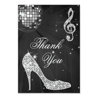 Black & Silver Disco Ball Sparkle Heels Thank You 9 Cm X 13 Cm Invitation Card