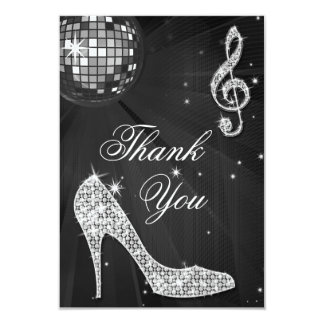 Black & Silver Disco Ball Sparkle Heels Thank You Card