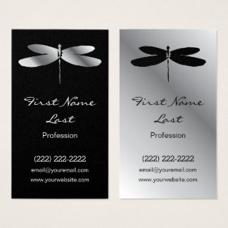 Black & Silver Dragonfly Business Cards