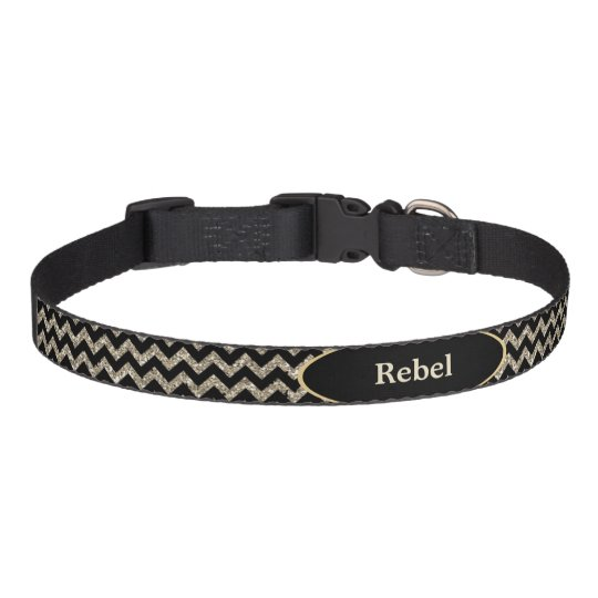 Black Silver Faux Glitter Chevron Personalised Pet Collar