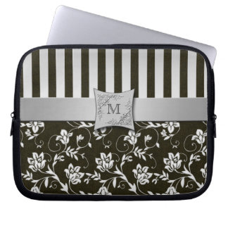 Black, Silver Floral Striped Laptop Sleeve
