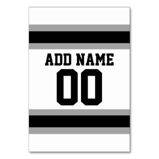 Black Silver Football Jersey Custom Name Number Table Card