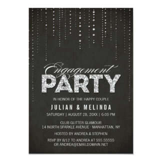 Black & Silver Glitter Look Engagement Party Card