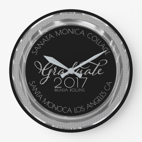 Black & Silver Glitter Modern Typography Graduate Large