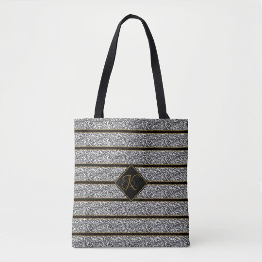 Black Silver Glitter Straps With Personal Monogram Tote Bag